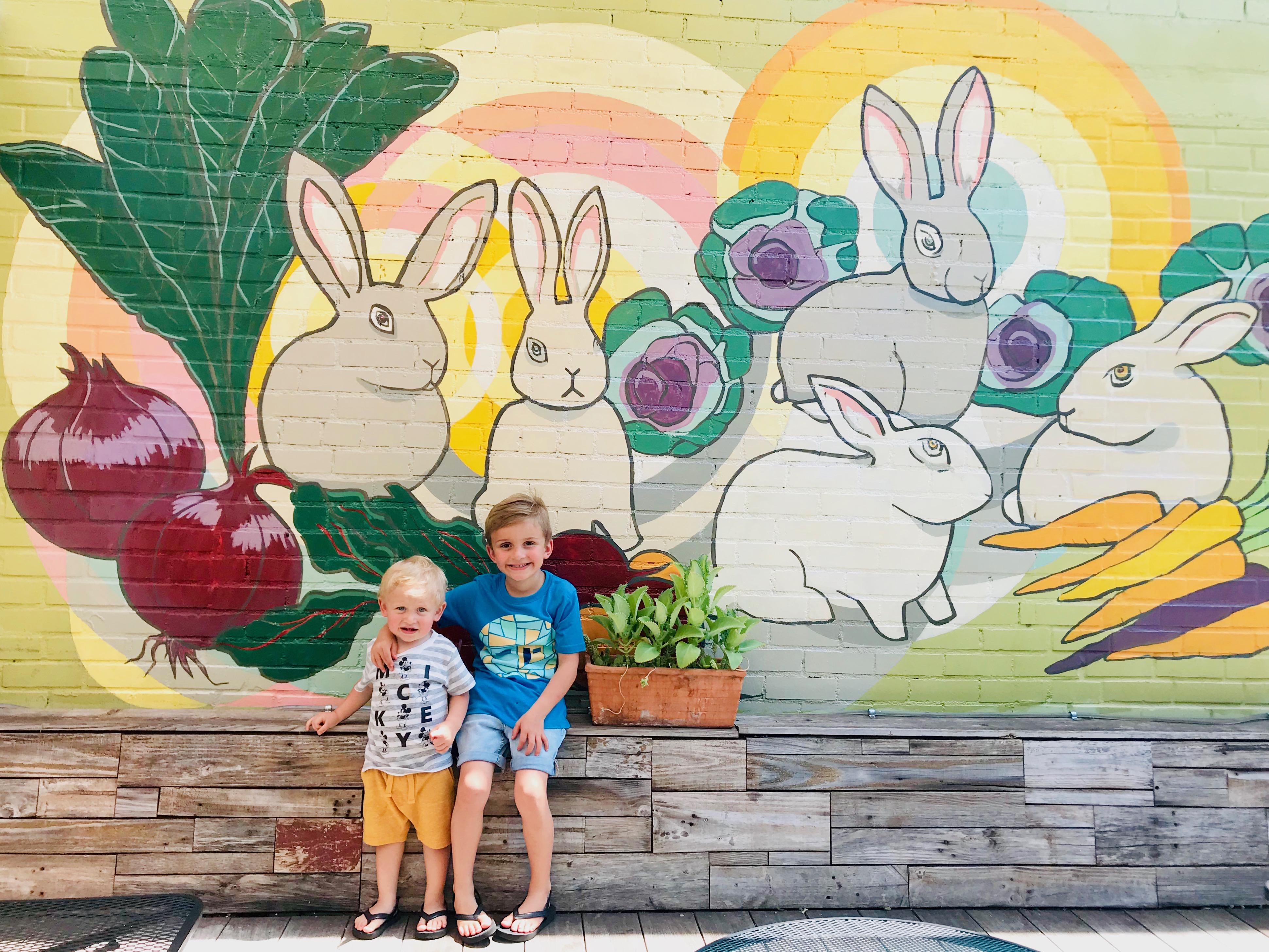 Bunnies with Veggies Mural